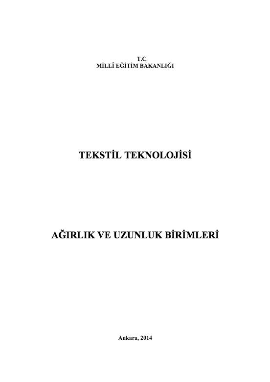 Ağırlık ve Uzunluk Birimleri ders notu pdf