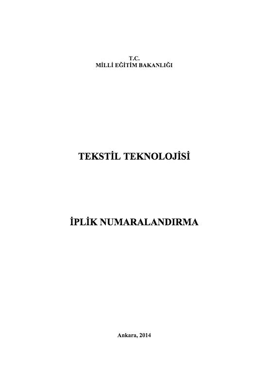 İplik Numaralandırma ders notu pdf