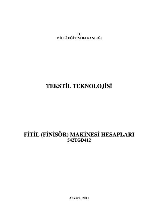 Fitil (finisör) Makinesi Hesapları