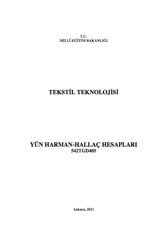 Yün Harman-hallaç Hesapları ders notu pdf