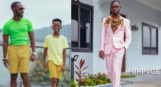 Okyeame Kwame twinning with his son in a new picture