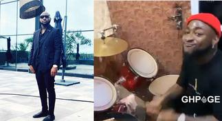 Video of Davido playing drums at church