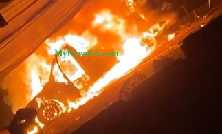 Sammi Awuku, others escape another accident; vehicle goes up in flames