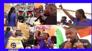 John Dumelo and Lydia Alhassan in a near fight at 3FM constituency debate