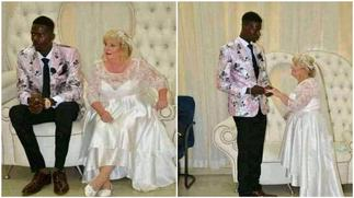 Photos of Young Man Marrying Old White Woman Stir Massive Reactions