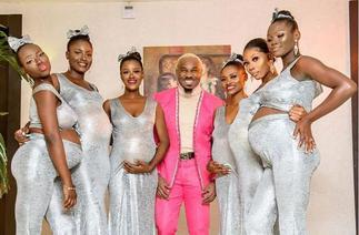 Pretty Mike Causes Stir At A Wedding With His 6 Heavily Pregnant Baby Mamas- VIDEO