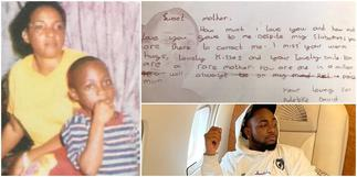 Davido shares note he wrote mum after she passed while he was little