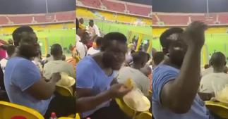Video of Hearts fan eating banku & okro at stadium during match drops