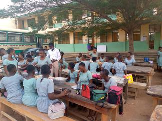 Oti Boateng students dine in the open as contractor abandons project