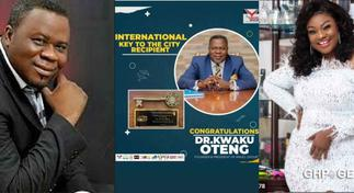 Side-chick of Dr Kwaku Oteng, Linda Achiaa congratulates him on international key to the city of Stonecrest award