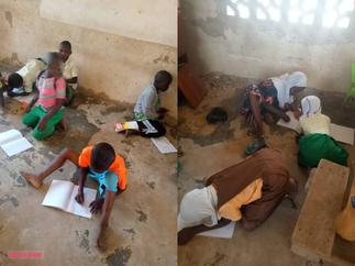 Peep the Sorry State of A School In the Volta Region As Students Study on the Ground with 'Borla' Littered Around them