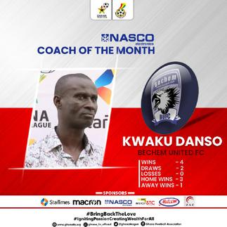 Bechem United coach Kwaku Danso wins GPL coach of the month for December