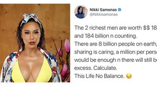 Nikki Samonas believes 'this life no balance' and neither is her maths [ARTICLE]