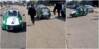 Man manufactures beautiful car, video shows minister cruising the whip