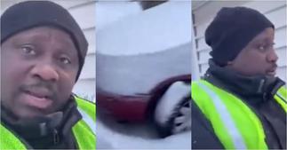 Dwefon snow nkoa: Ghanaian condemns misuse of money sent home as he struggles through snow to work ▷ Ghana news