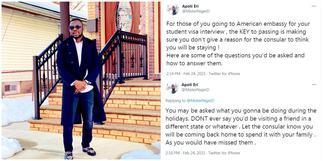 Man in the US shares reasons American embassy denies people student visas ▷ Ghana news