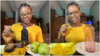 Lady finishes full plate of food, 2 slices of fish and big bottle of zobo, photos stir reactions ▷ Ghana news