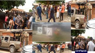 Otumfuo's shrine set on fire, police clash with angry youth as they nearly burnt palace