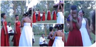 Best proposal ever? Social media reacts as groomsman proposes to bridesmaid in viral video ▷ Ghana news