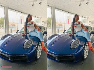Sandra Ankobiah Sends Social Media Into Meltdown As She Takes Delivery Of 2021 Porsche 911 Carrera Costing $99,200