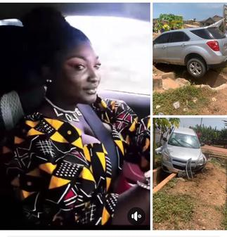 Newly wedded Abena Moet survives ghastly accident; video and photos from the accident drops » GhBasecom™