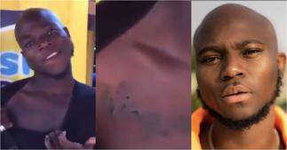 Diehard fan of King Promise tattoo's his name on his body, flaunts it in video ▷ Ghana news