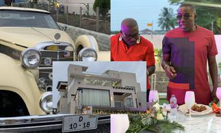 Despite, Ofori Sarpong storm millionaire friend's house party in exotic cars