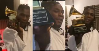 The Glorious Moment Burna Boy Finally Held His Grammy Plaque » GhBasecom™