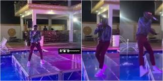 Scary moment Ghanaian artist Kay Pro almost drowns after he fell into a swimming while performing » GhBasecom™