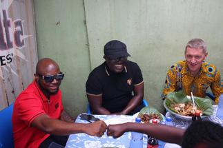 Outgoing British High C'ssioner Iain Walker embarks on Waakye tour with Bola Ray