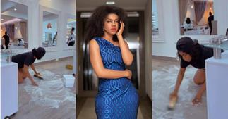 Becca: Singer Captured Scrubbing her Office by Herself in Video; Ghanaians hail her ▷ Ghana news
