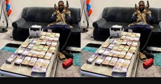 Netizens Call for The Arrest of Oseikrom Sikanii For Posing with Guns and Bundles of Cash