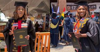 Victoria Lebene: Nkonkonsa's Wife Bags Bachelors Degree From AUCC; Shares Photo & Video ▷ Ghana news