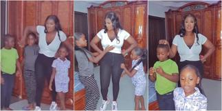 She Has 4 Kids, Look at Her Tummy: Mercy Johnson in Awe of Her Kids As They Boldly Advertise Her Products ▷ Ghana news