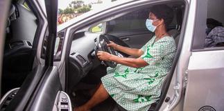 Ablakwa gifts hardworking midwife at Battor Catholic Hospital new car
