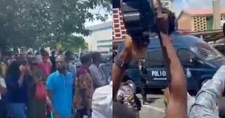 Hundreds of Shatta Wale fans storm court to chant 'Free Wale'