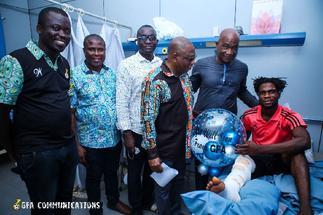 Ghana FA delegation visits injured Tema Youth goalkeeper Christian Addai after surgery