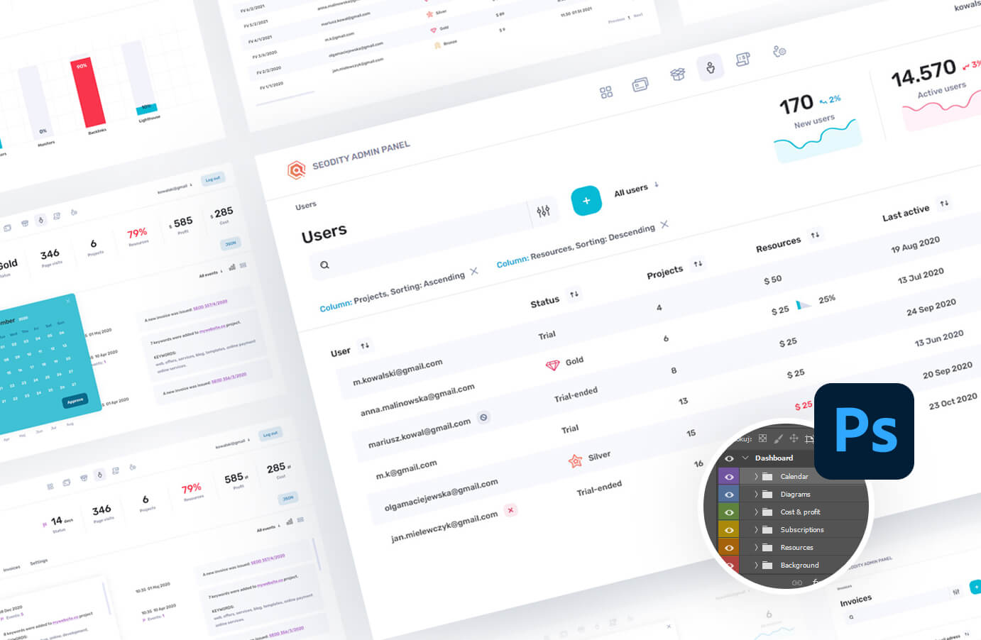 Free admin panel with list of users view.