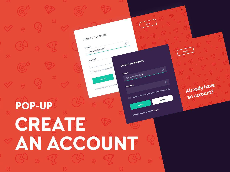 Create an account popup
