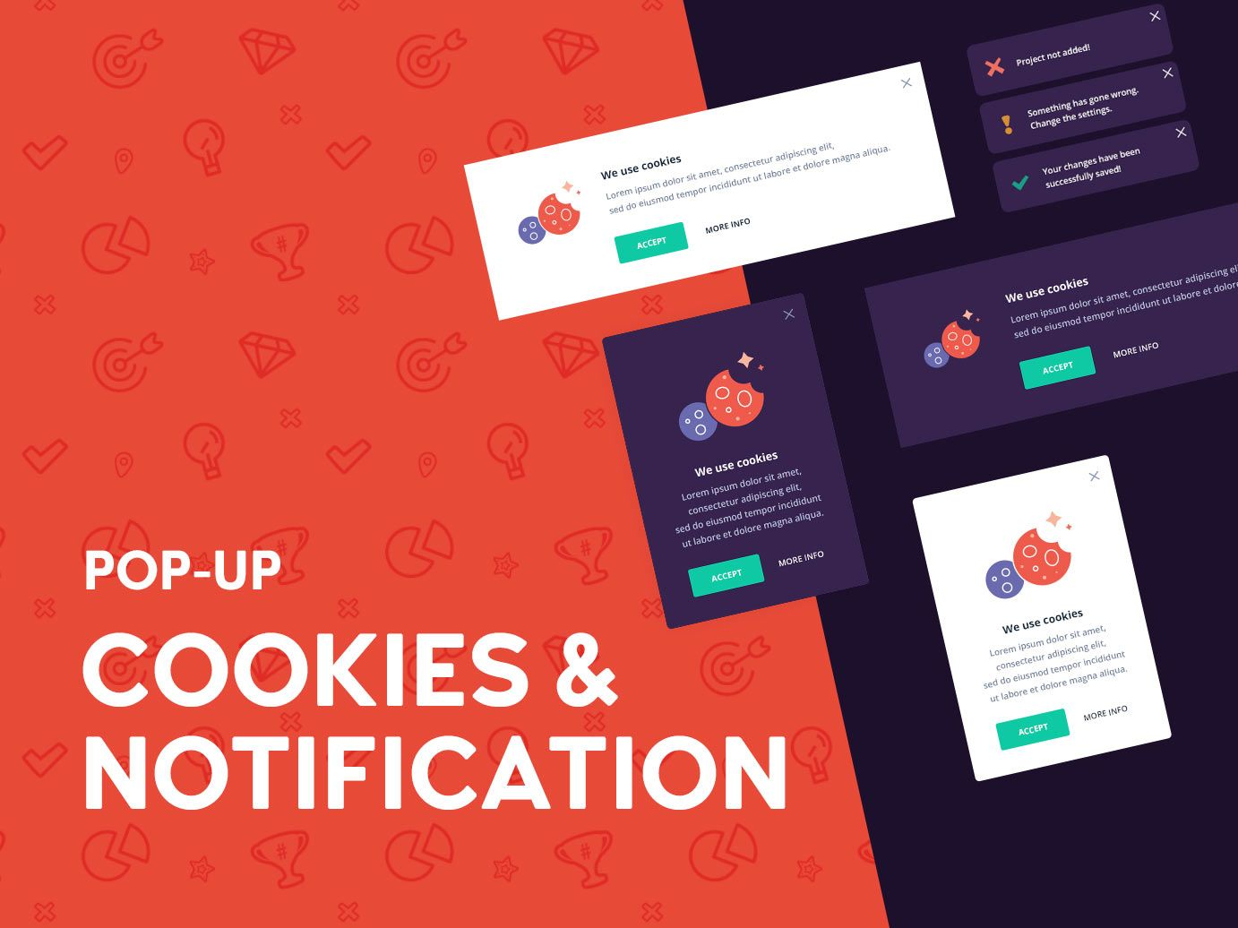 Cookies and notification popup