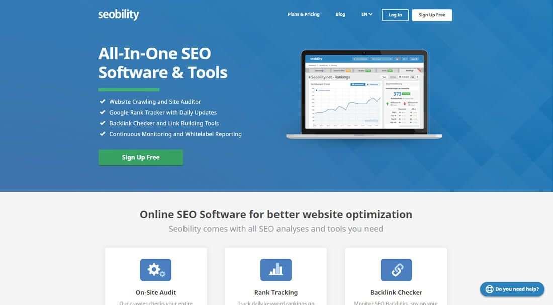 SEObility homepage screen-shot