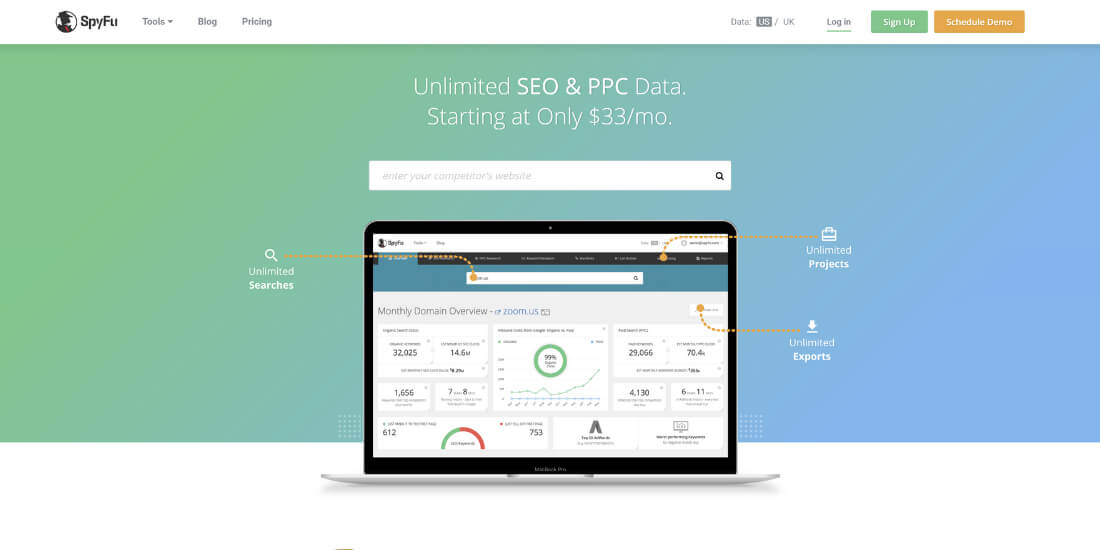 SpyFu homepage screen-shot