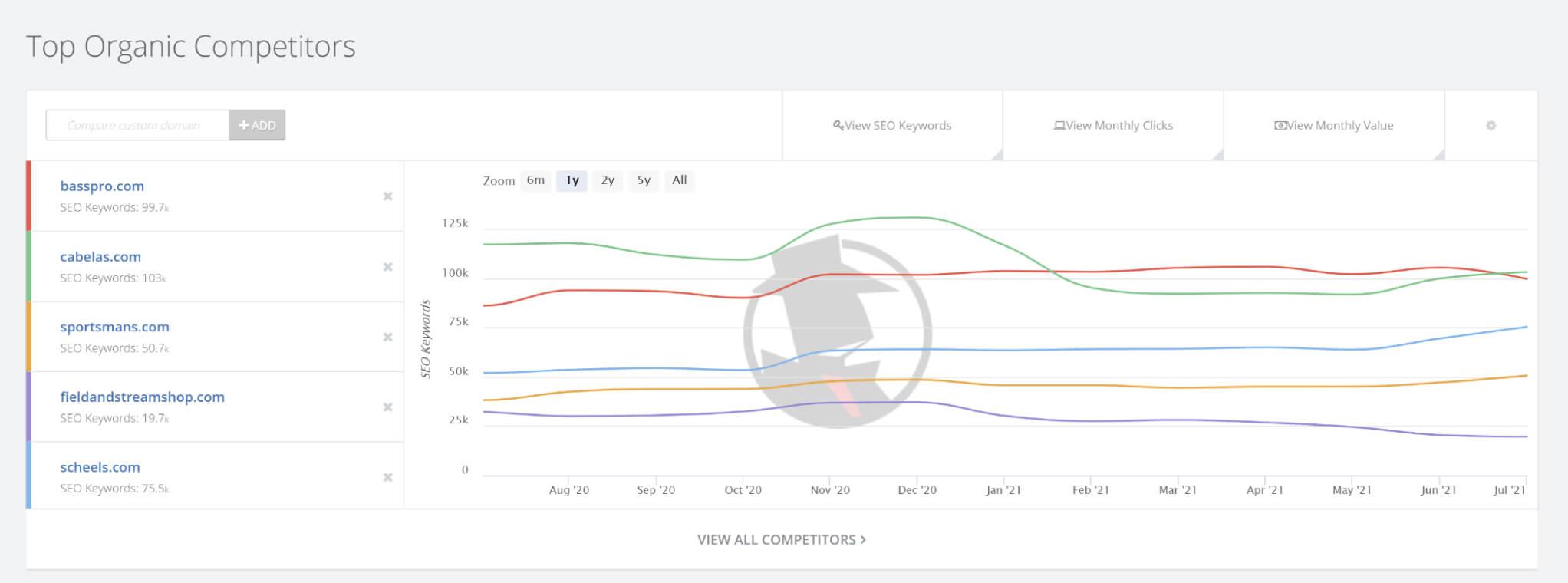SpyFu top organic competitors screen-shot