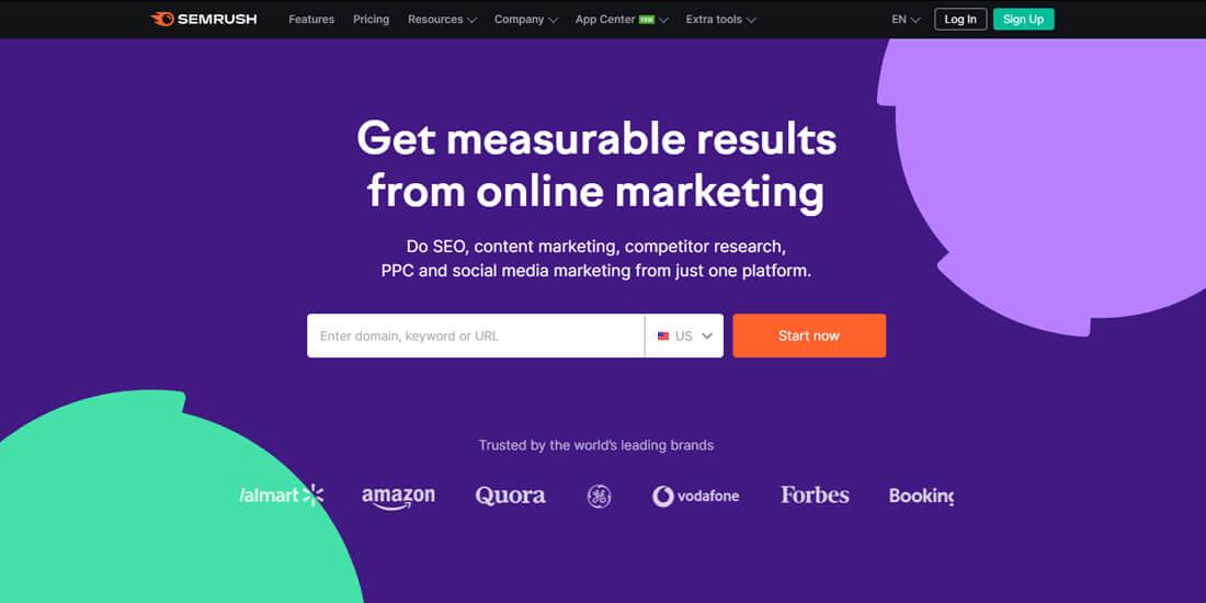 Semrush homepage screen-shot
