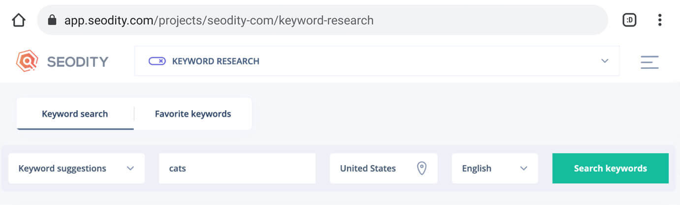 The search bar of a content traffic estimation tool