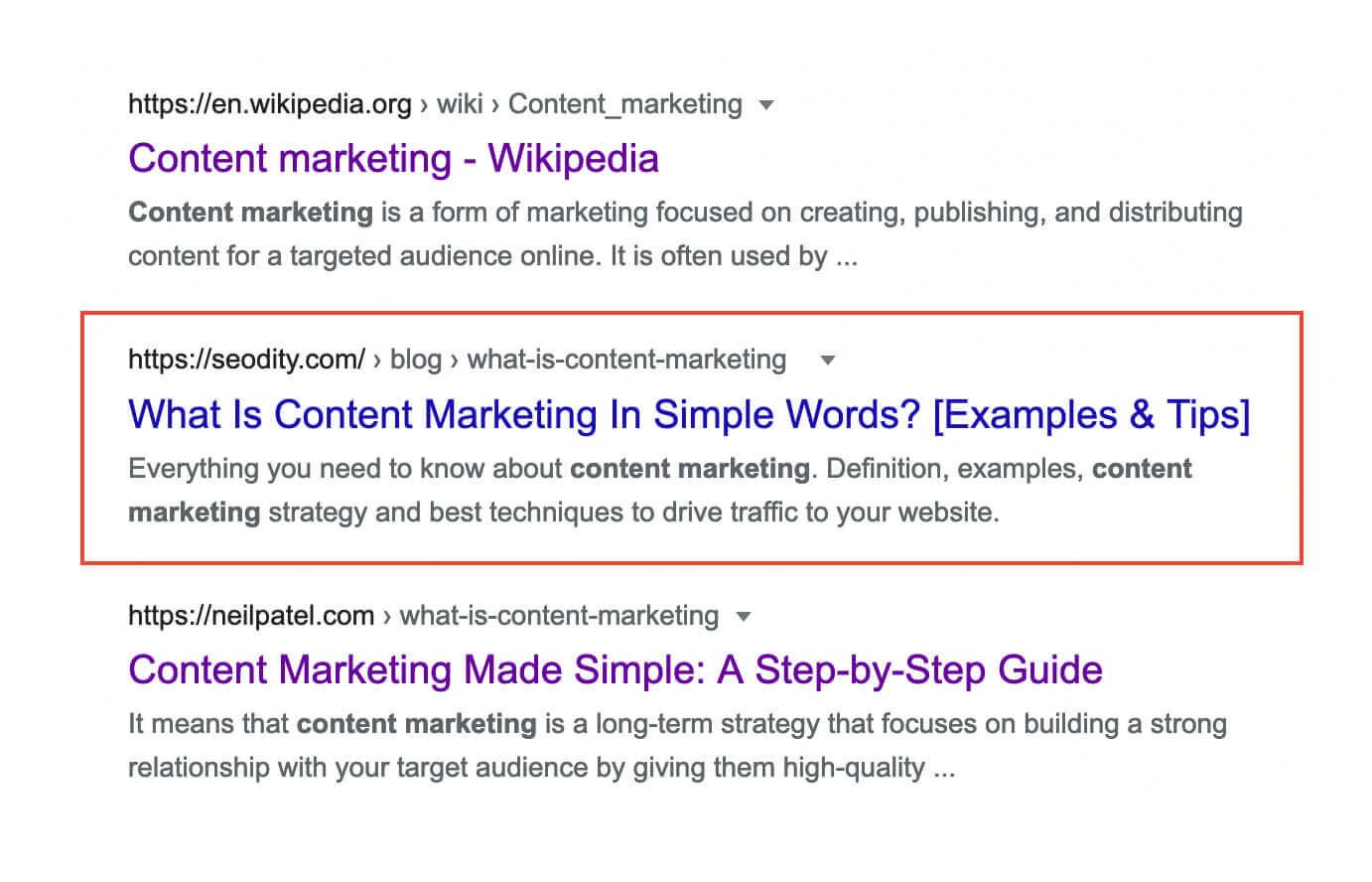 Google search results for content marketing definition