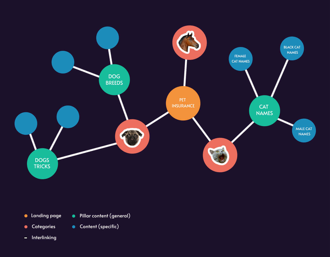 Infographic about content pillars, topic clusters, and their role in preparing a content strategy