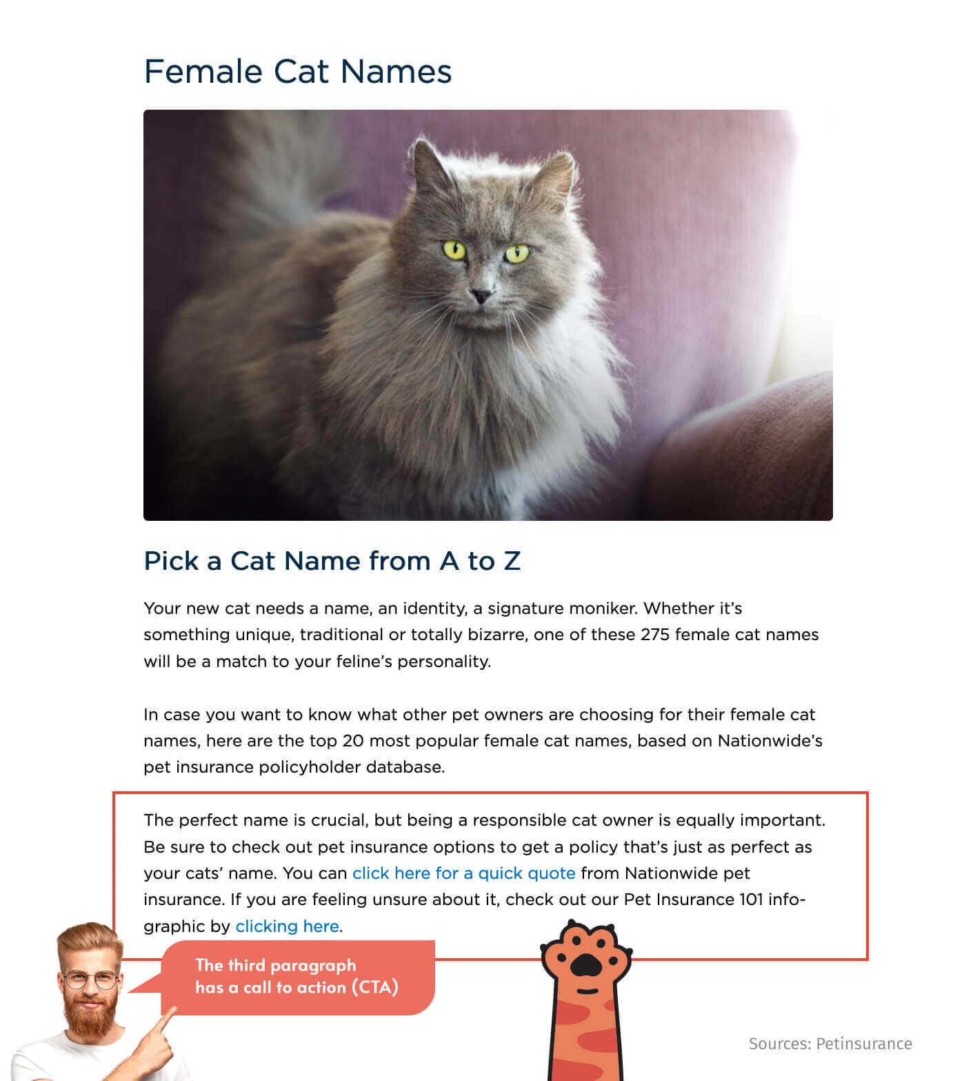 A website that offers pet insurance products attracts new customers with an article about popular female cat names