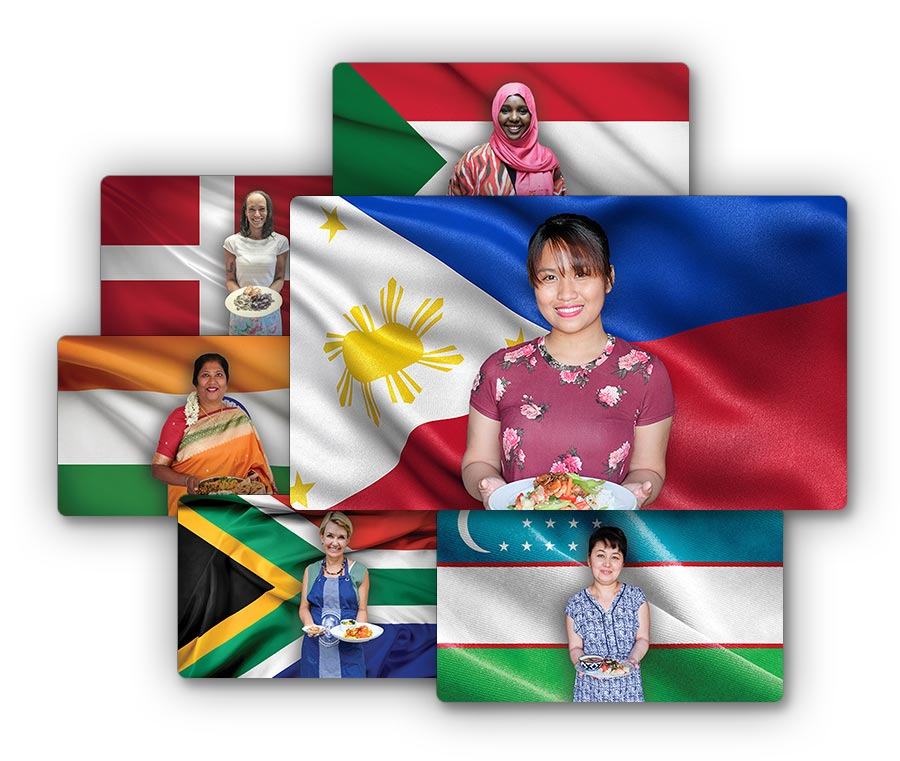 Multiple ethnic people with their flags and food