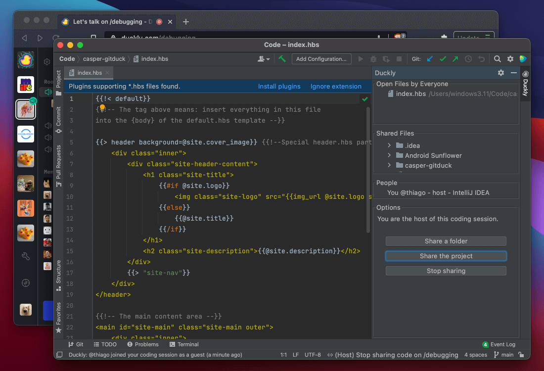 Pair programming on Duckly with WebStorm